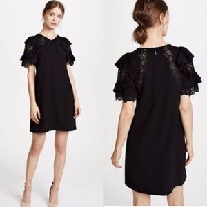 Rebecca Taylor SS Crepe Lace Sleeve Black Dress